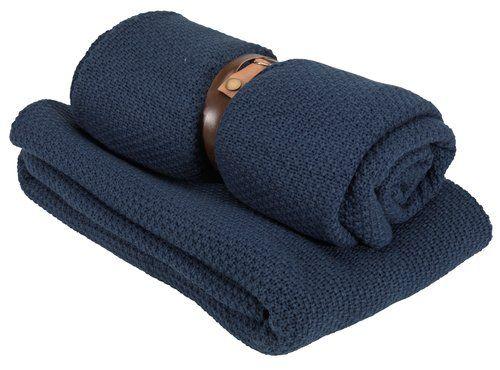 Pletený pléd ULLVIER 130×180 modrá | JYSK