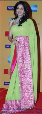 Ved Deal's Bollywood Replica Sridevi Heavy Green Designer Saree Bollywood Sarees Online on Shimply.com