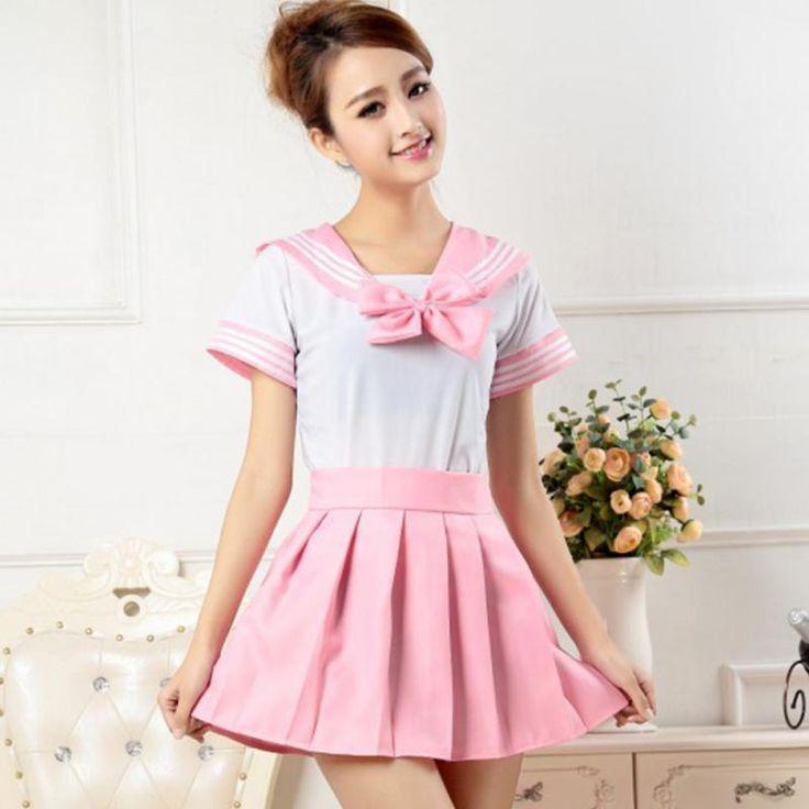Cosplay Lovely School Girl Uniform Dress T,Shirt + Mini Skirt Outfit Sailor Halloween  Costume