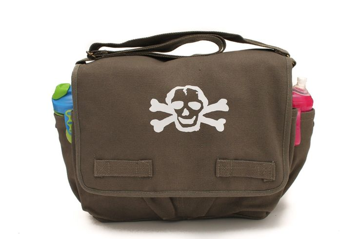 Heavyweight Messenger Diaper Bag in Olive with White Skull