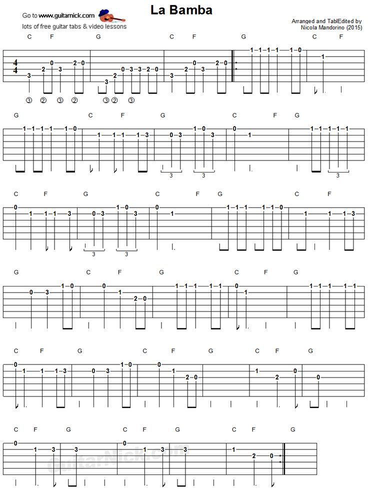 La Bamba: easy guitar tablature