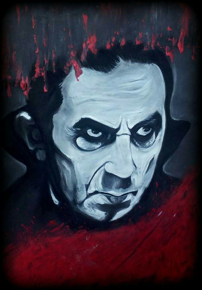 Bela Lugosi, Dracula, horror. Claire Loughran Art, chalk pastel and acrylic on black card.