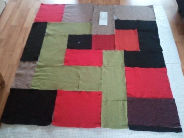 concept deken  materiaal, recycled wollen truien