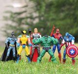 6 pcs Avengers super hero Action Figures Hulk spiderman thor Batman Wolverine