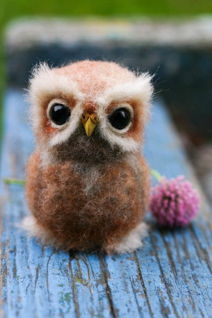 "HOPE MICHEEVA -- ""Owl"" ($61) -- Dry felting wool.  Handmade."