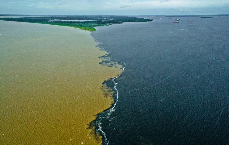 """Perto de Manaus, o Rio Solimões (de águas claras e barrentas) se encontra com o Rio Negro (com águas limpas e escuras),   criando um fenômeno conhecido como """"Encontro das águas""""."""