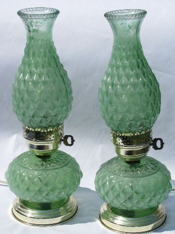 hurricane lamps, all electric, 1950s vintage