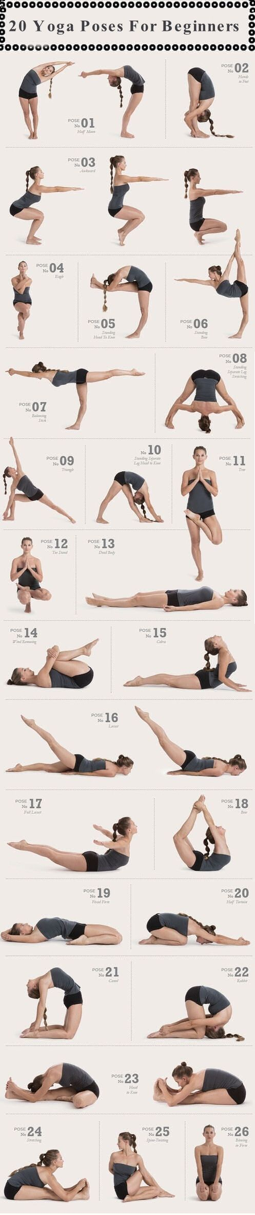 20 Yoga Poses For Beginners happiness fitness how to exercise yoga health diy exercise healthy living home exercise tutorials yoga poses self improvement exercising self help exercise tutorials yoga for beginners