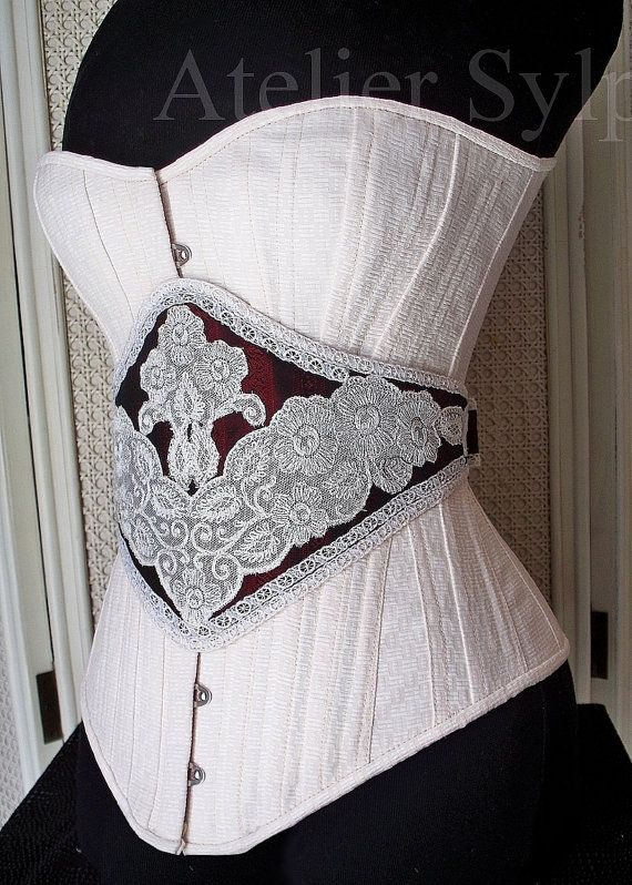 Overbust corset with extra belt from antique corset pattern