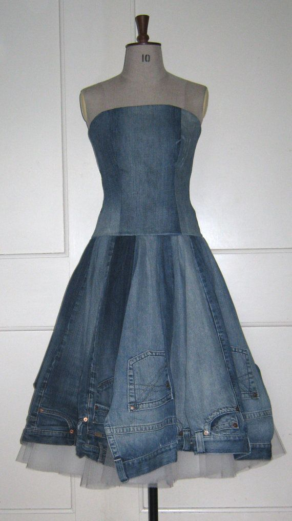 Recycled denim jeans dress http://ibeebz.com