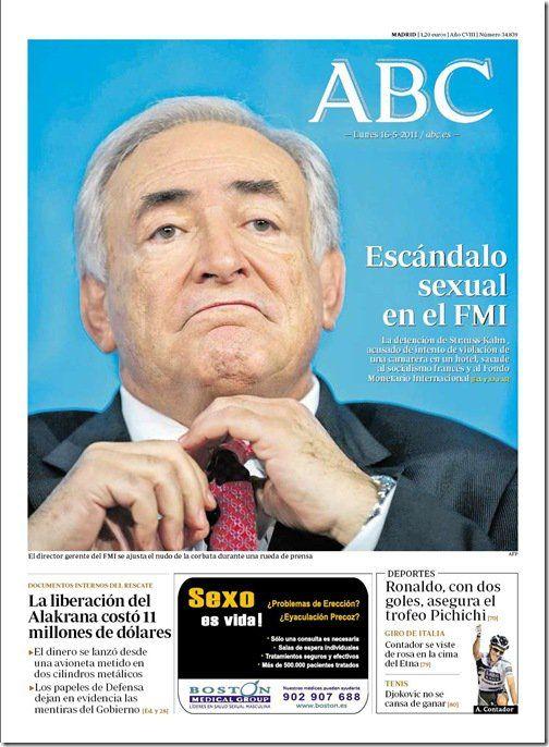 """ABC deja clara su postura frente al escándalo que azota al FMI... Sin duda """"postura"""" y """"azotar"""" parecen los términos más apropiados para este caso xD"""