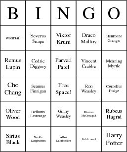 harry potter bingo card!! Seriously, I HAVE to play this game!! Can u say THEME PARTY!