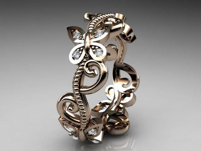 rose gold diamond floral- Anjays design