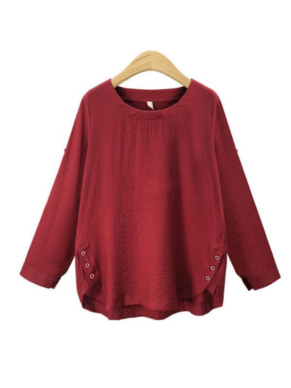 Women 8217 S Red Blouses Casual Loose Solid Color Long Sleeve David Jones Womens G By Guess Notations