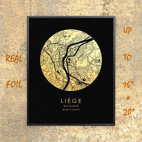 Liege 16x20 City Map Gold Silver Print Real