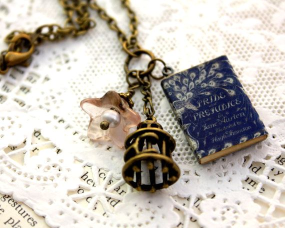 Pride and Prejudice, Jane Austen Miniature Book Necklace, Bird Cage & Pink Flower. via Etsy