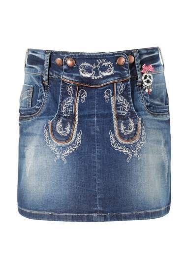 Marjo Folklore rok blauw skirt blue denim jeans spijkerstof
