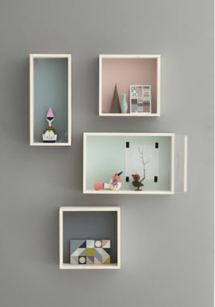 Great idea (to eliminate clutter) and great color palette! Teintes pastel pour les chambres enfants. A #CanDoBaby! fave.
