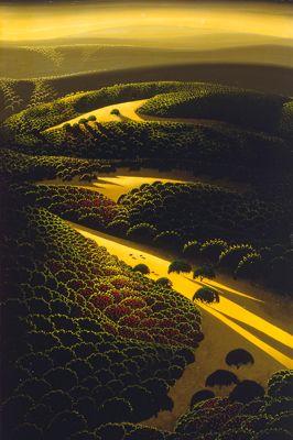 """Eyvind Earle, Mountain Fields, 1975, 12""""x8""""."""