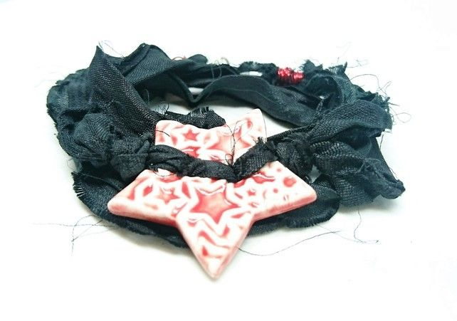 Black sari silk bracelet with red ceramic star button and magnetic clasp £15.00