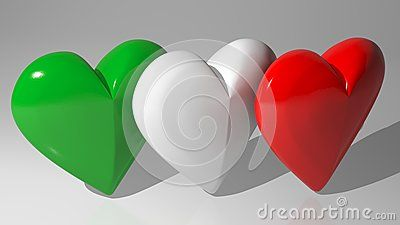 Three hearts with the colors of the italian flag