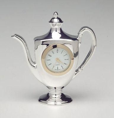 Silver Teapot Clock Kettle