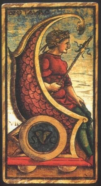 Deotauro:   Meaning of Deotauro from the Sola Busca Deck   Upright: Victory through might.   Reversed: Historical obscurity.   Deotauro: Is considered the Chariot card:  A. E. Waite's Secondary Meanings:   The Chariot:source: Italian Tarot/Sola Busca/Italy, c.1491