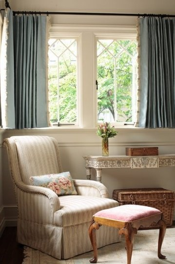 short curtains with banded lace trim on inside use a grometted curtain