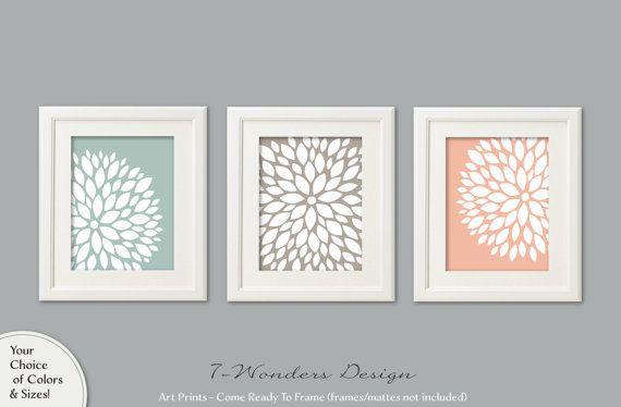 Neutral Flower Bursts Art Prints Dahlia Wall Art by 7WondersDesign