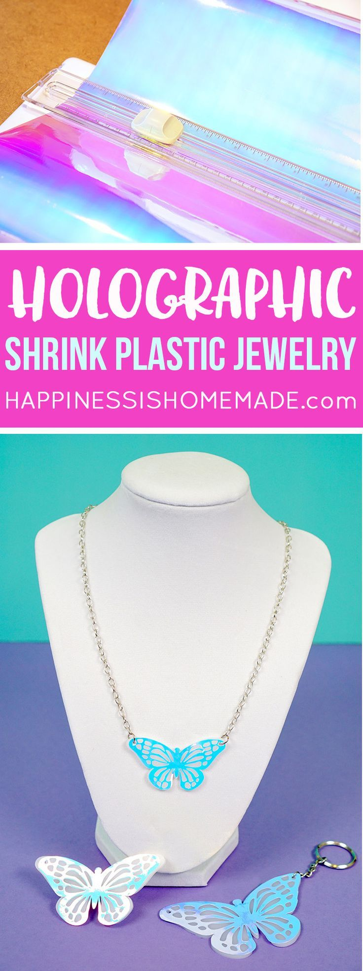 This fun Holographic Shrink Plastic Jewelry is a grown-up version of the classic Shrinky Dinks craft made easy with the Cricut Explore Air cutting machine! The possibilities are endless! via @hiHomemadeBlog #ad #CricutMade