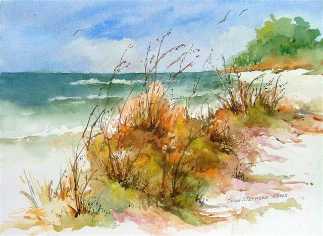 Beach Scene Watercolor by Joan Stephens