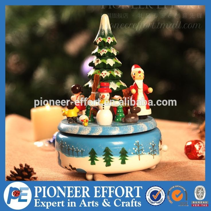 custom made Handmade hand crank christmas wooden music box with sonwman santa christmas tree for christmas gift, View christmas wooden music box, PE Product Details from Shanghai Pioneer Effort Arts & Crafts Company Limited on Alibaba.com