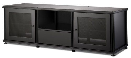 Salamander Synergy 236 A/V Cabinet w/ Two Doors & Media Drawer (Black/Black) - Home Entertainment Furniture : Exclusive Item for Exclusive People