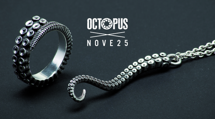 OCTOPUS BRAND X NOVE25 - STORE EXCLUSIVE & LIMITED EDITION  Octopus Jewelry: a capsule collection made up of a ring and a chain charm necklace, both with the iconic octopus motif, available in sterling silver and crafted in Nove25's Milan lab. #octopusbrand #ring #silver #tenctacles #jewelry #octopus #octopusring #octopuspendant
