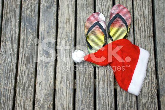 Kiwiana Summer, Jandals & Santa Hat royalty-free stock photo