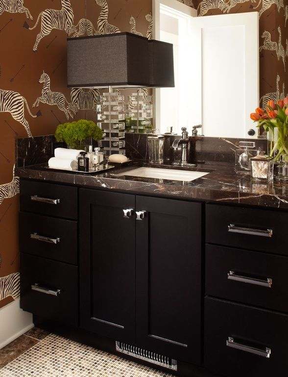 Photos On How to Go Bold in a Small Bathroom Penny tile White bathrooms and Bald hairstyles