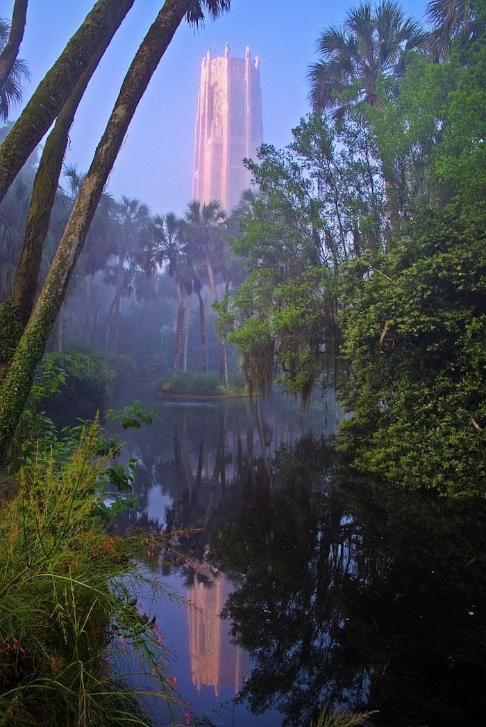 Bok Tower, Florida. Set in an orange grove, houses a library at the top dedicated to bells... I'm in love. Must visit someday...