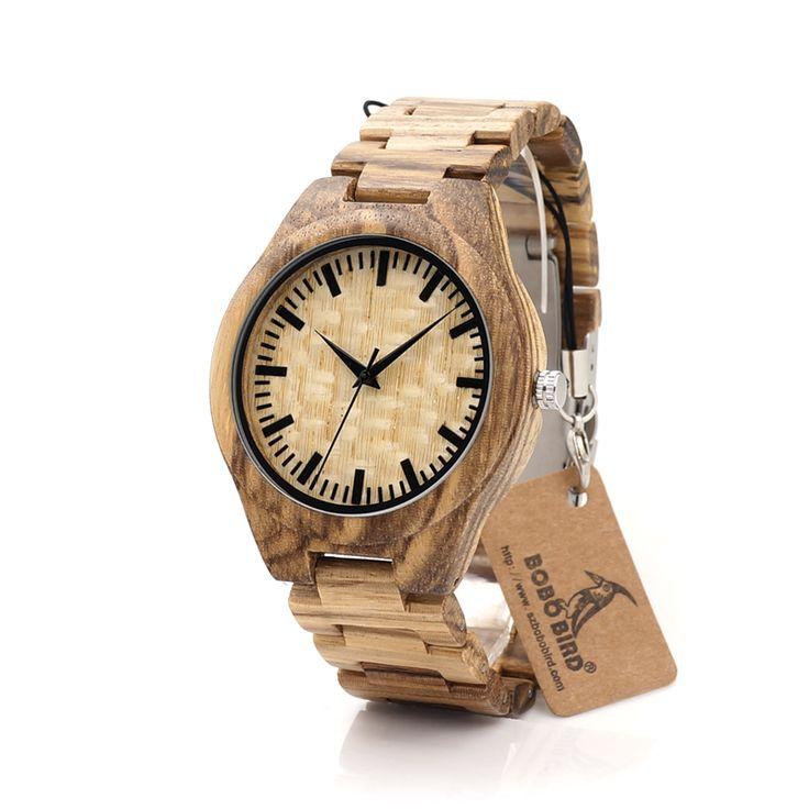 Zabra Wood Quartz Watch With Full Wood Band //Price: $53.23 & FREE Shipping //     #gem