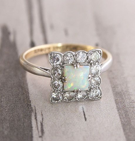 Square Opal and Diamond Edwardian Cluster Ring