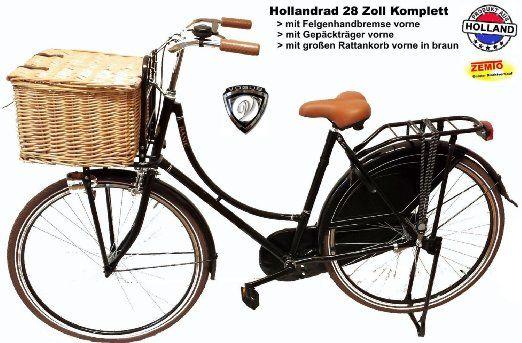 Hollandrad Damen 28 Zoll komplett mit Rattankorb braun