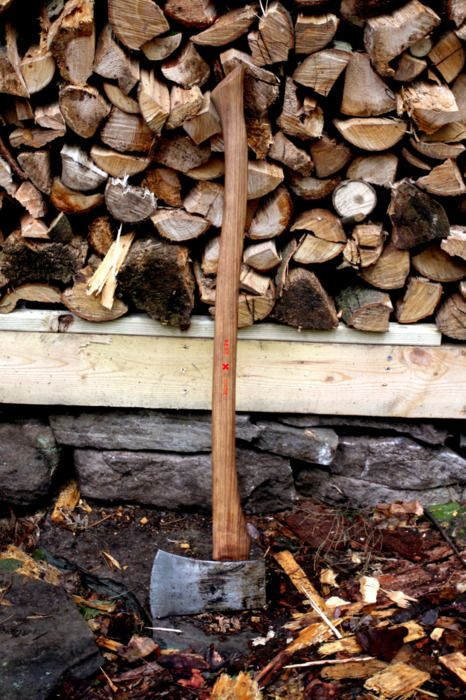 An area to cut wood for the fires, and a razor-sharp Granfors-Bruks axe to do the cutting.