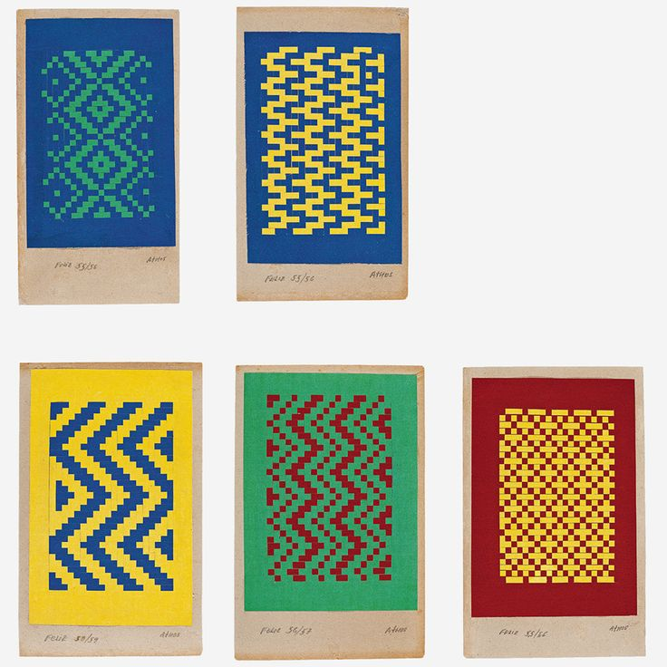 Athos Bulcão Feliz - Década de 1950. Conjunto de 5 colagens de papel trançado. Bolsa de Arte Rio de Janeiro