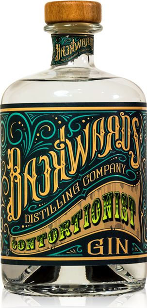 Love the vintage design of this label for Backwards Distilling Company Contortionist Gin #packaging