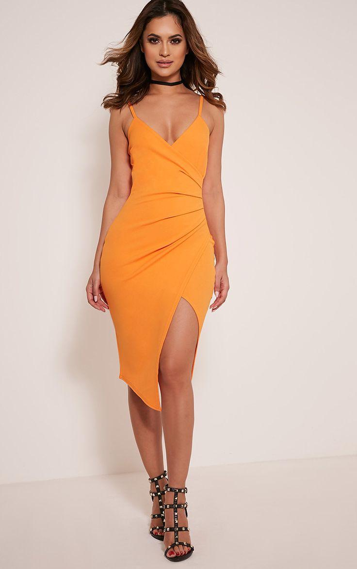 Lauriell Bright Orange Wrap Front Crepe Midi Dress