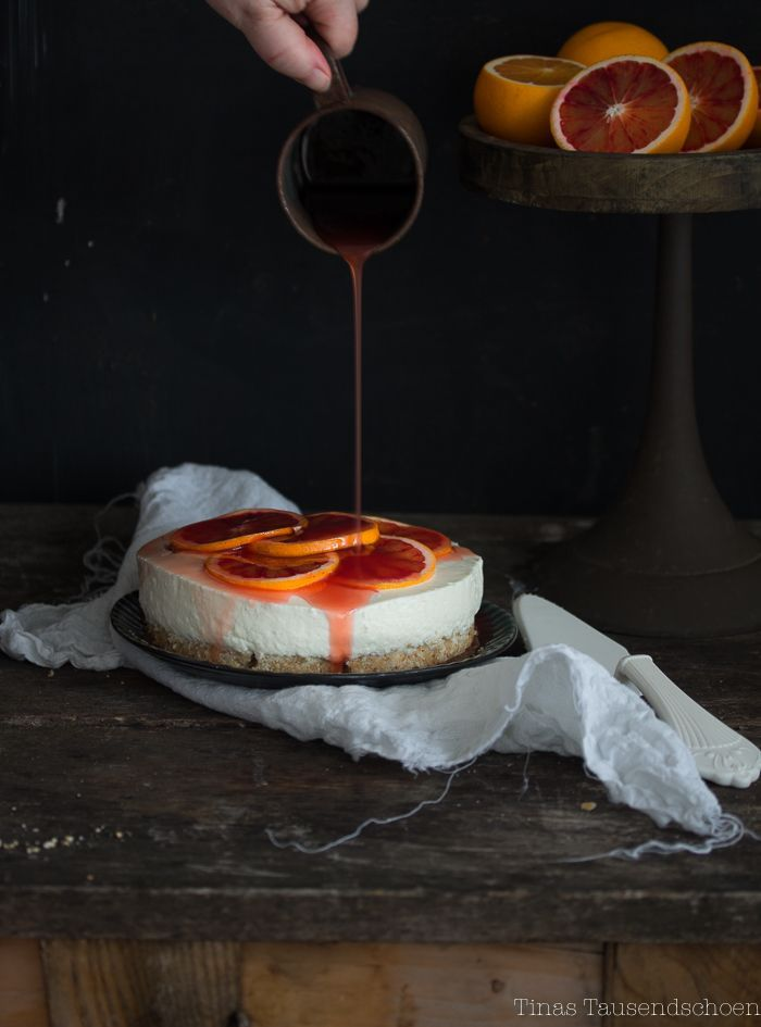 No Bake Yogurt Cheesecake with Blood Oranges