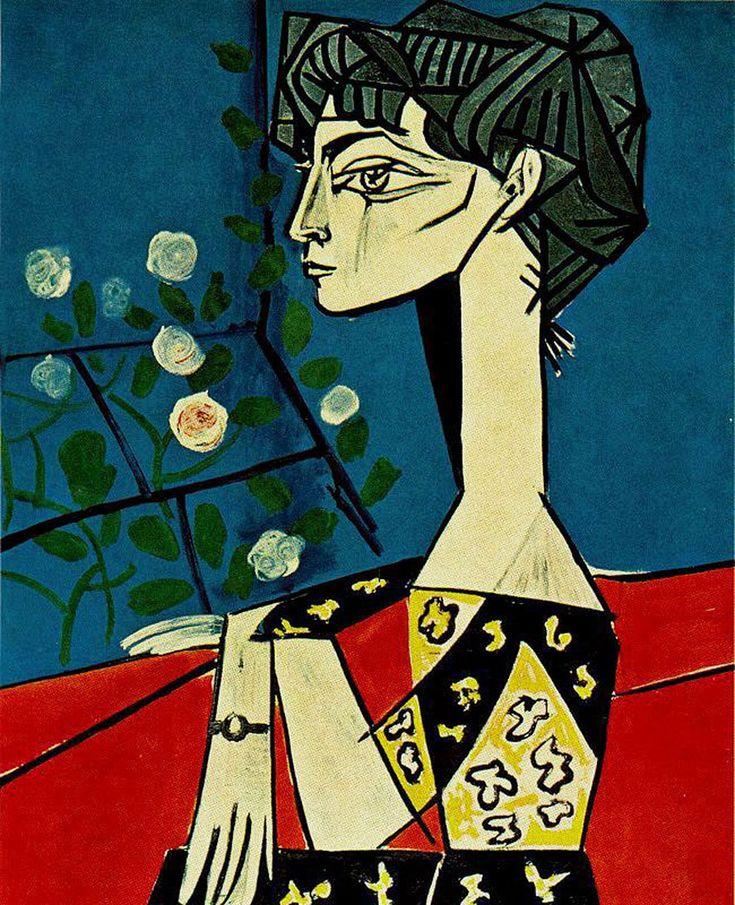 Pablo Picasso - Jacqueline with Flowers, 1954.  Oil on canvas, 116 x 88.5 cm.  Musée Picasso, Paris.
