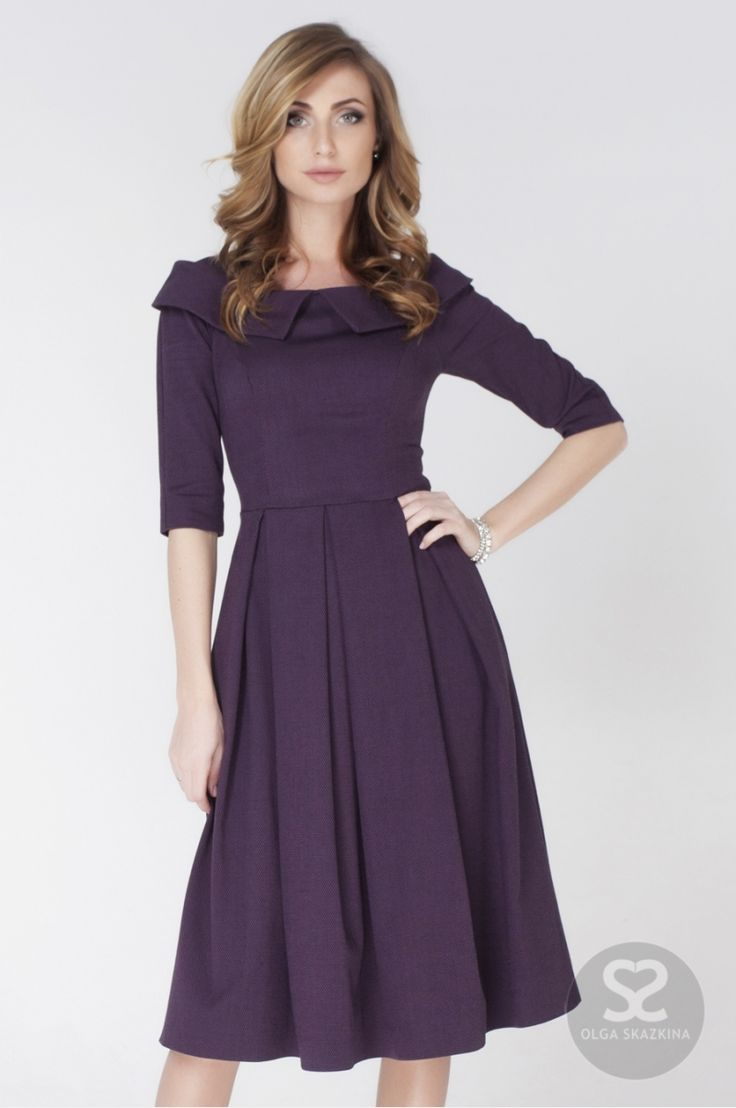 Платье со складками на юбке из костюмной ткани от дизайнера   Skazkina