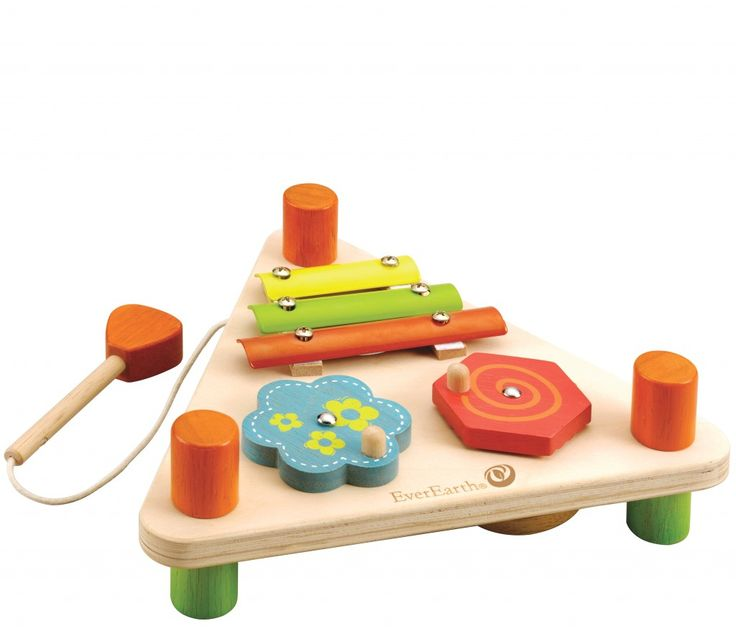 EverEarth Flip Over Triangle Musical Set. Double-sided musical set to play through music and practice aiming for the right instrument. Includes xylophone, spinners, drum, glockenspiel and mallets. Made from FSC sustainable wood.