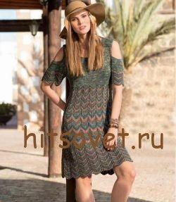 Вязаное платье с волнистым узором http://hitsovet.ru/vyazanoe-plate-s-volnistym-uzorom/