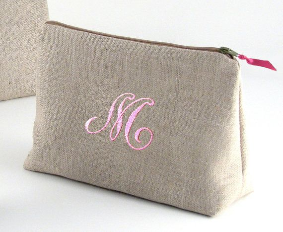 FREE SHIPPING-Bridesmaid Linen Makeup Bag // by PersonalizedFinds